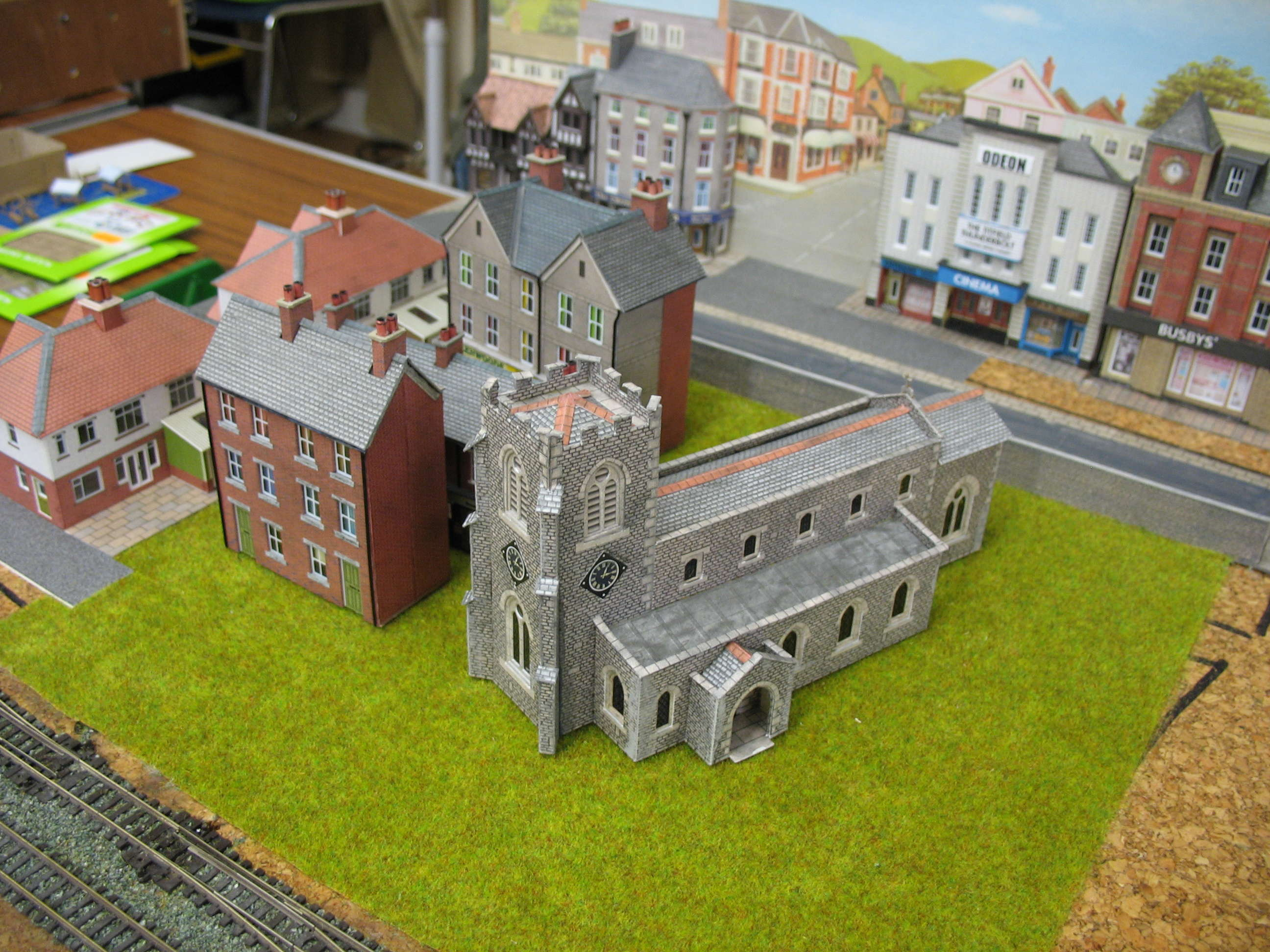 The towns church is trial fitted on OSP & WL 'N' gauge layout