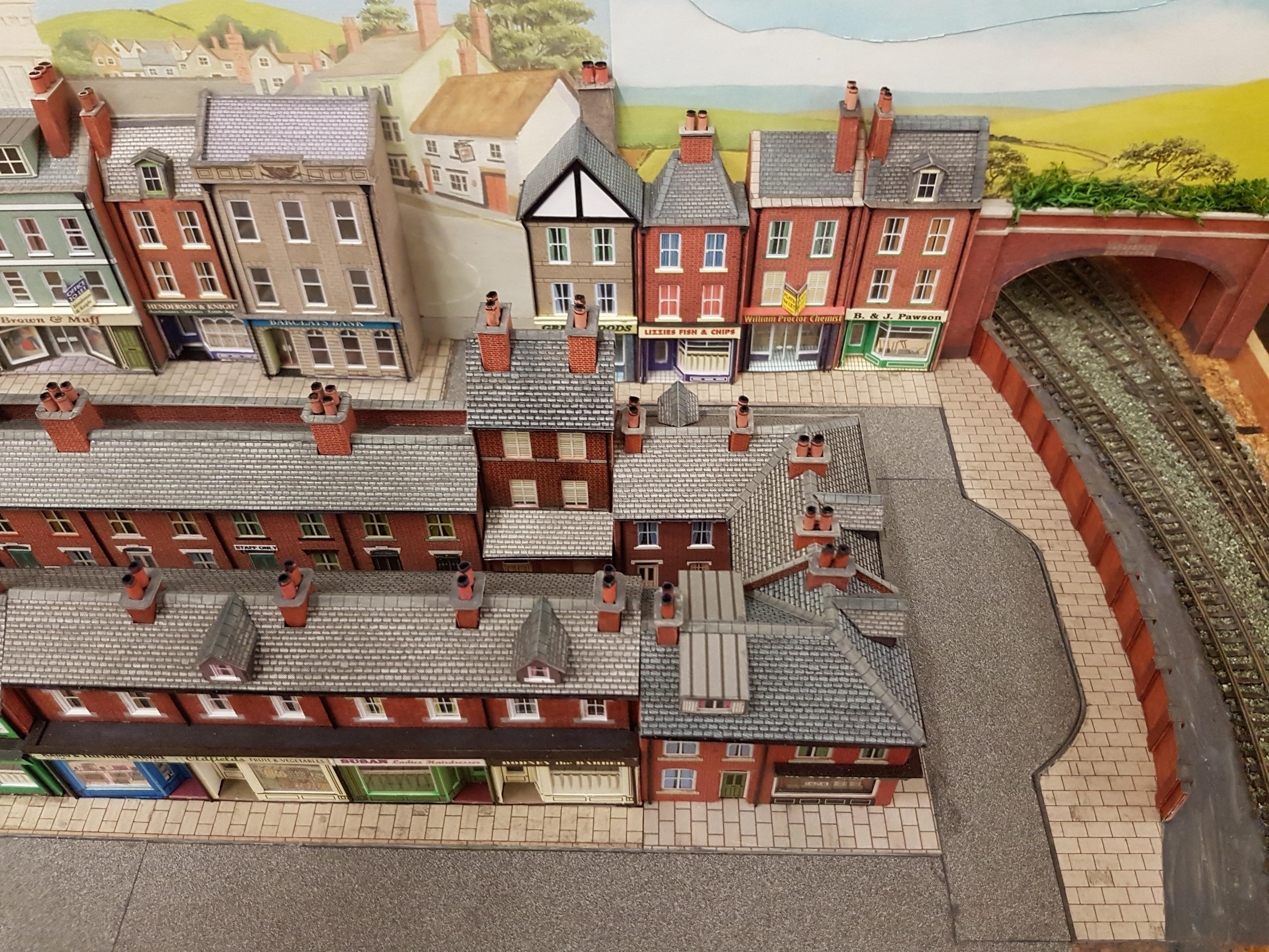 Another view of the new row of shops and pubs on the N gauge layout