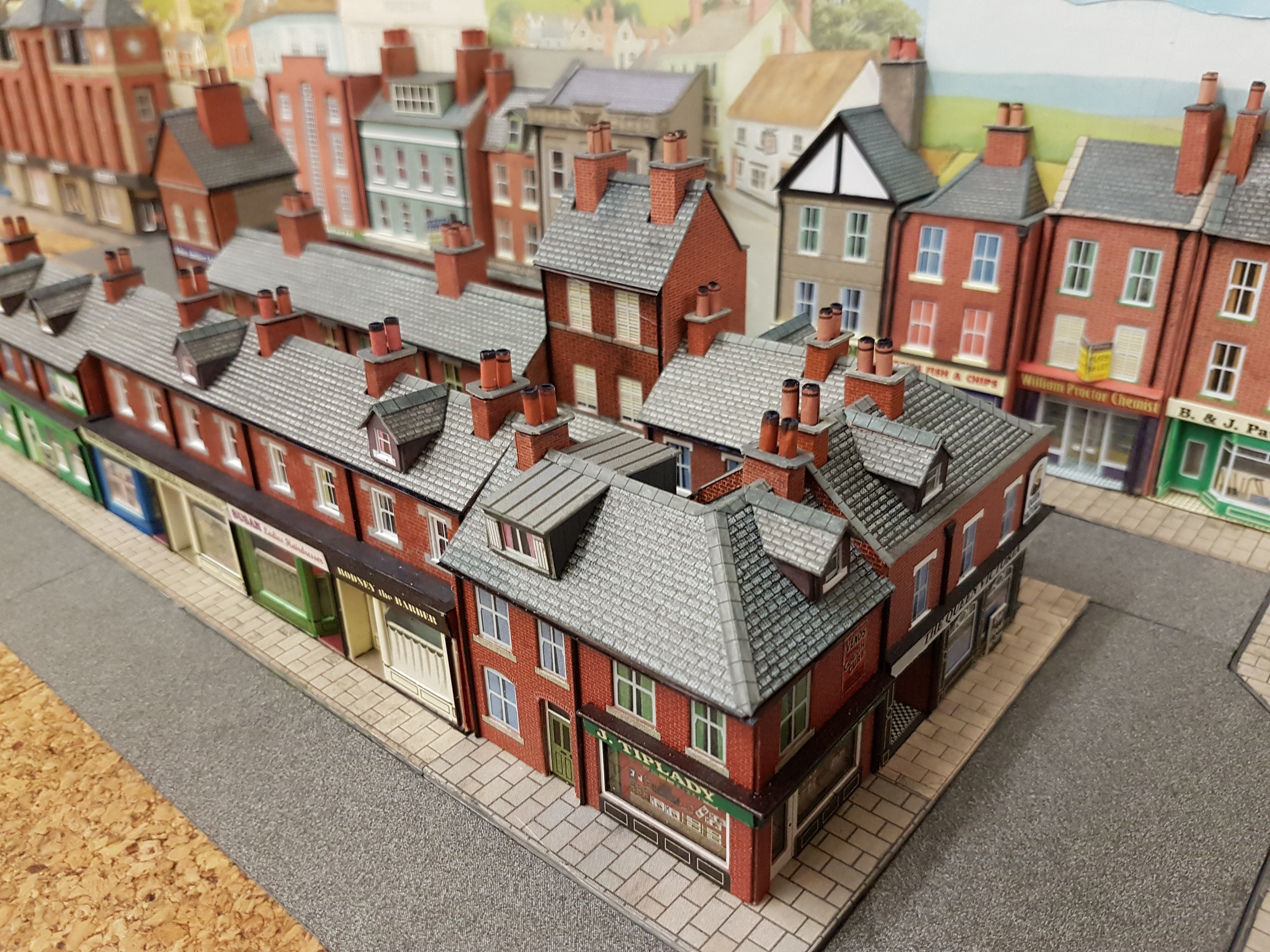 The new row of shops and pubs fitted to the N gauge layout
