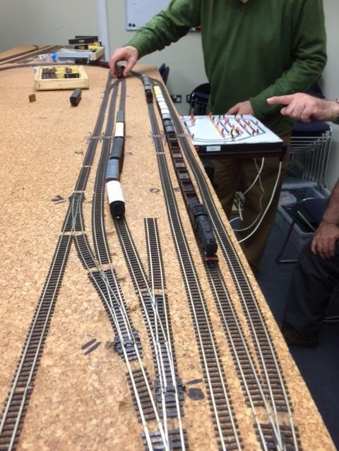 The N gauge layout with trains running